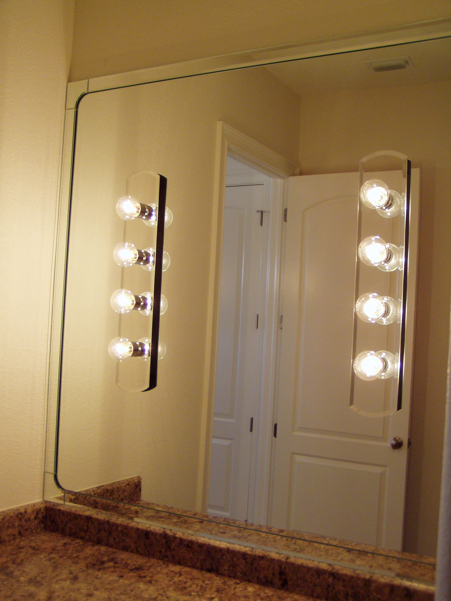 1 4 Clear Mirror With 2 Bevel Strips Majestic Corner Blocks And Holes For Customer Provided Lights