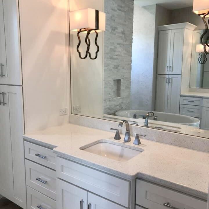 """1/4"""" clear vanity mirror with multiple light cutouts and beveled edge"""