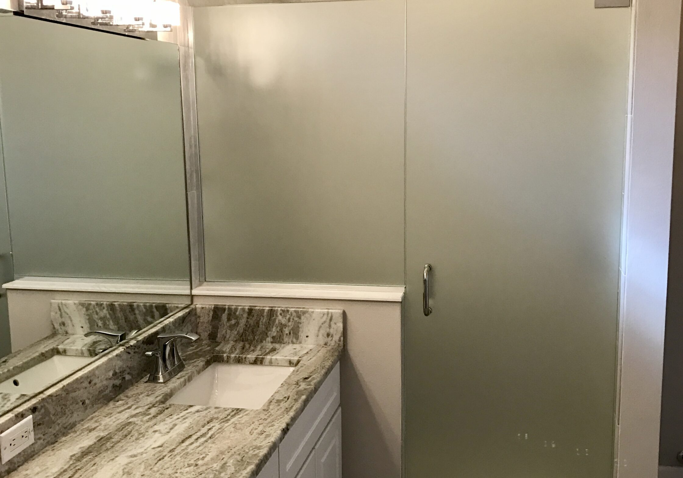 """3/8"""" frosted glass inline door and panel with chrome channel, pivot hinges and bore thru C pull handle"""